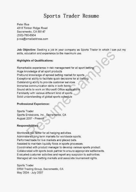 Great Sample Resume Resume Samples Sports Trader Resume Sample