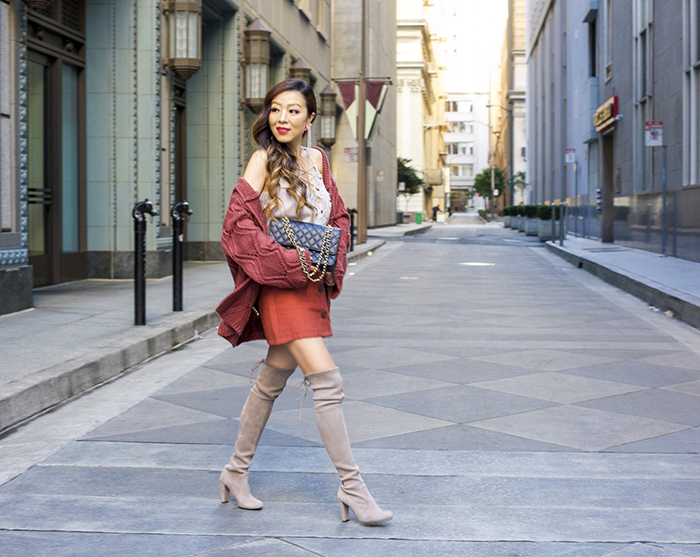 chicwish Your Own Dashing Open Front Hooded Cardigan in Red Brown, topshop button skirt, lace up cami, baublebar earrings, chanel classic flap bag, stuart weitzman over the knee boots, spring outfit ideas, san francisco fashion blog