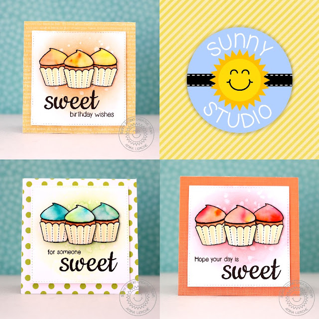 Sunny Studio Stamps: Sweet Shoppe Watercolored Cupcake Card Set by Anni Lerche.