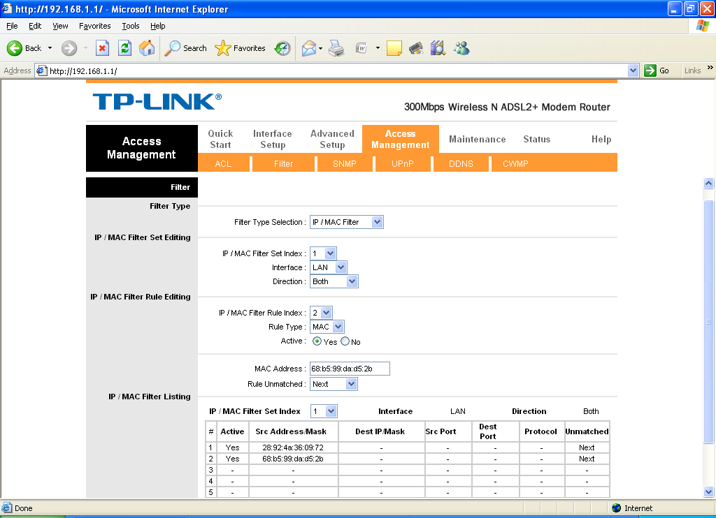 On Ubuntu: How to configure MAC filtering on the TP-Link TD-W8961ND
