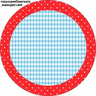 Cuadros Celestes, Rojo y Lunares Blancos: Wrappers y Toppers para Cupcakes para Imprimir Gratis.
