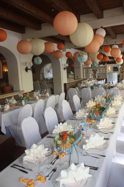 Hochzeit im Seehaus - Hochzeit mit Reisemotto in Orange, Pfirsich, Apricot - Niederlande meets Russland in Garmisch-Partenkirchen, Riessersee Hotel, Bayern - Travel themed wedding orange colour scheme