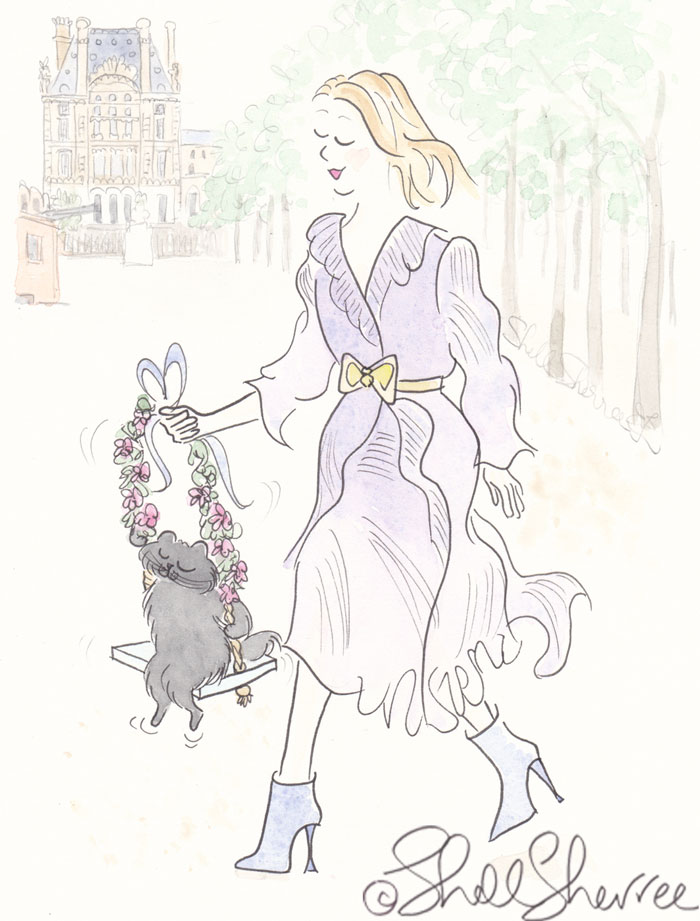 Black Cat Swinging in the Jardins Tuileries Fashion & Fluffballs Illustration © Shell Sherree