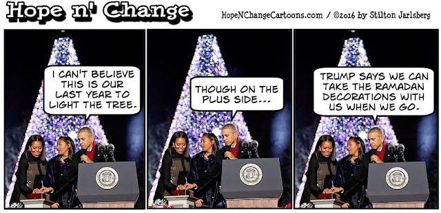 obama, obama jokes, political, humor, cartoon, conservative, hope n' change, hope and change, stilton jarlsberg, christmas tree, countdown, trump, twitter, cabinet