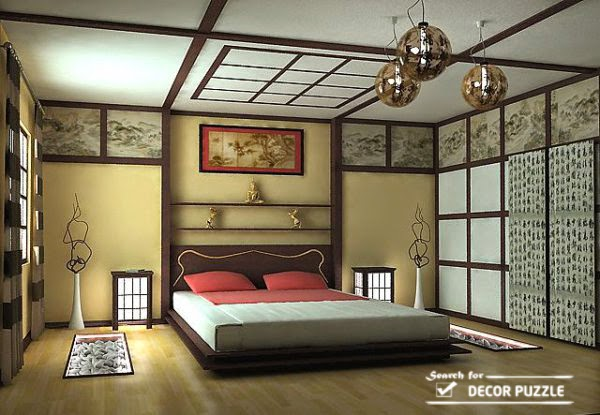 Japanese interior design, bedroom furniture, wall decor, ceiling design