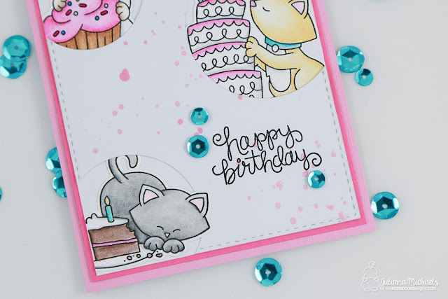 Happy Birthday Card by Juliana Michaels featuring Newton's Nook Designs Newton Eats Cake Stamp and Die Set from the February 2017 Release