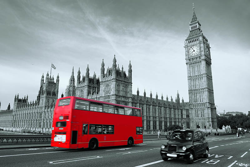 Image showing Houses of Parliament and London bus from website Fabulously Chic Over 50