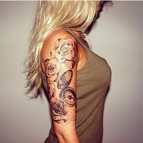 flower sleeve female tattoo