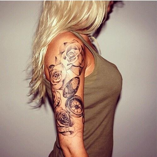 flower+sleeve+Female+tattoo