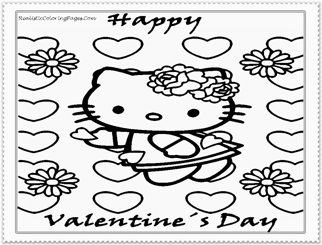 Hello Kitty Valentine Cartoon Coloring Pages For Kids