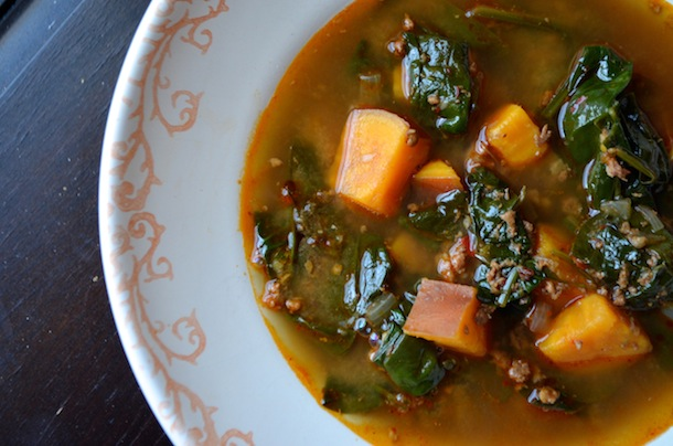 Mexican Chorizo, Sweet Potato & Spinach Soup - Always ...