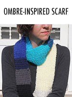 Hues of blue make up this scarf, knitted from entirely leftover yarn