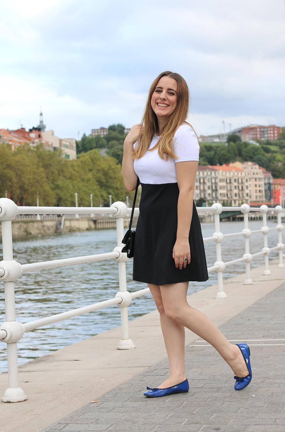 Vestido blanco y negro otono