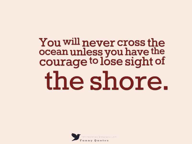 You will never cross the ocean unless you have the courage to lose sight of the shore.