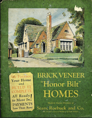 green Sears Modern Homes catalog cover from 1929 for brick veneer homes