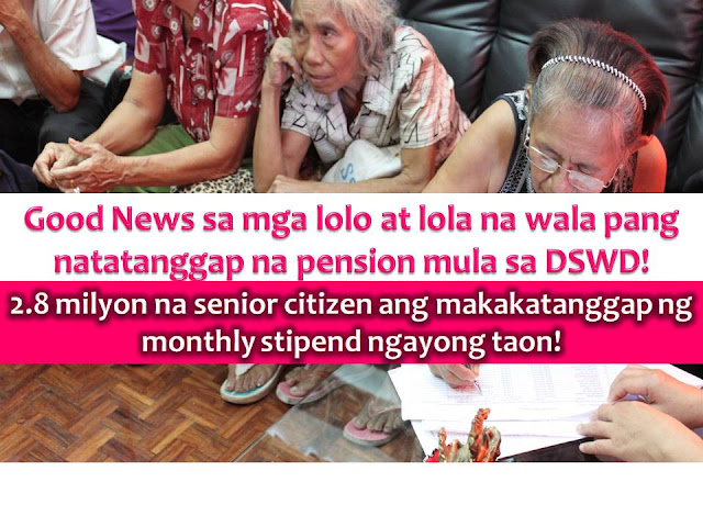 Indigent senior citizen will be having a good news this year.  It is because the Department of Social Welfare and Development (DSWD) is planning to provide a monthly stipend to 2.8 million indigent senior citizens this 2017.
