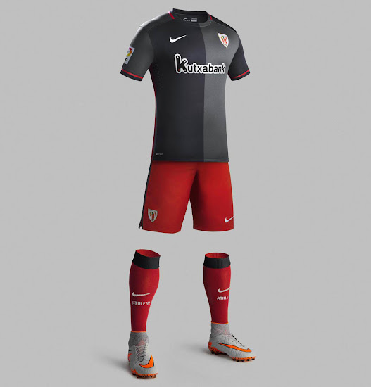 435a6ee69 Nike combines the understated main colors black and anthracite of the new  Athletic Club 2015-2016 Away Kit with striking red details on the collar  and the ...