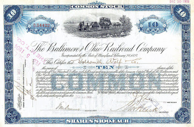 $100 share common stock Certificate of Stock Baltimore Ohio railroad