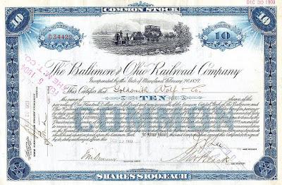 $100 share common stock Certificate of Stock Baltimore Ohio railroad