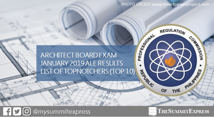 RESULT: January 2019 Architecture board exam top 10 passers