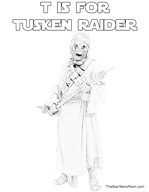 T is for Tusken Raider - Star Wars Alphabet Coloring Page Free Printable