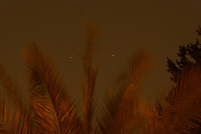 Venus and Jupiter conjunction looking like a face