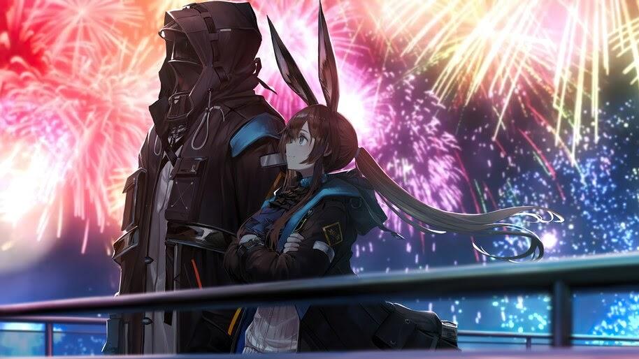 Amiya, Arknights, Fireworks, Anime, 4K, #6.535