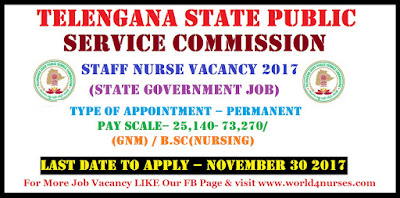 TSPSC Staff Nurse 1196 Vacancy (State Government Job) December 2017