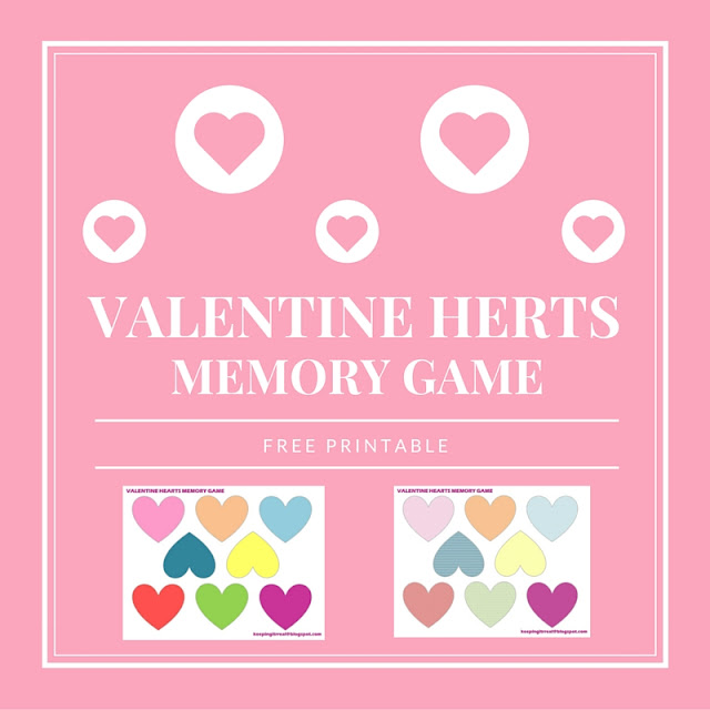 Valentine Hearts Memory Game - free printable