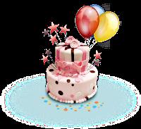 balão de festa e bolo