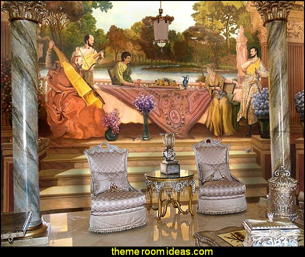 Roman Dining Scene mural  mythology theme bedrooms - greek theme room - roman theme rooms - angelic heavenly realm theme decorating ideas - Greek Mythology Decorations -  angel wall lights - angel wings decor - angel theme bedroom ideas - greek mythology decorating ideas - Ancient Greek Corinthian Column - Spartan Warrior Gladiators - Greek gods - Angel themed baby room - angel decor - cloud murals - heaven murals - angel murals - ethereal heavenly style - cupid theme bedrooms - cherub throw pillows - greek roman decor
