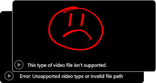 Video boxes completely black displaying error messages.