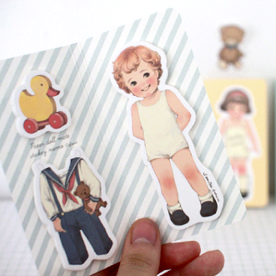 sticky note paper doll