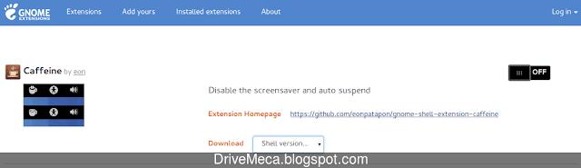 La pagina de la extension gnome shell mostrara informacion sobre ella