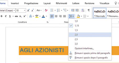 Interlinea e allineamenti documenti Word