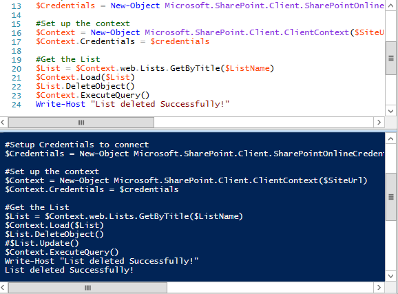 delete list sharepoint online powershell