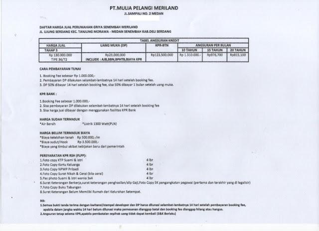 Daftar harga dan skema cara pembayaran rumah subsidi Griya Senembah Meriland Tanjung Morawa Medan Sumatera Utara: