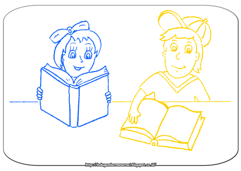 Gambar Mewarnai Gambar Mewarnai Anak Membaca Buku