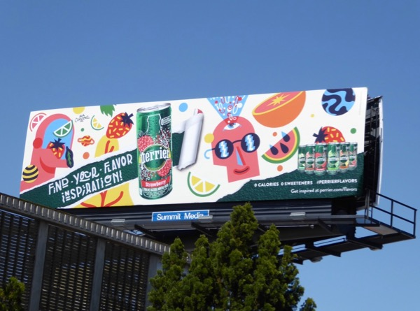 Perrier Strawberry flavor inspiration billboard