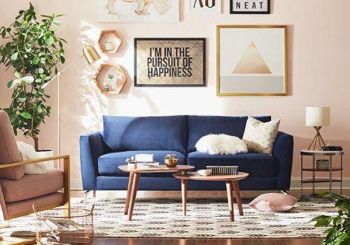 Rivet Emerly Modern Velvet Blue Sofa