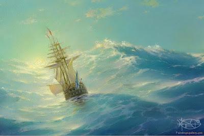cuadro del mar embravecido con barco a punto de naufragar