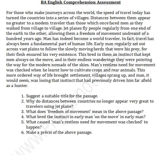 ba english comprehension passages punjab university