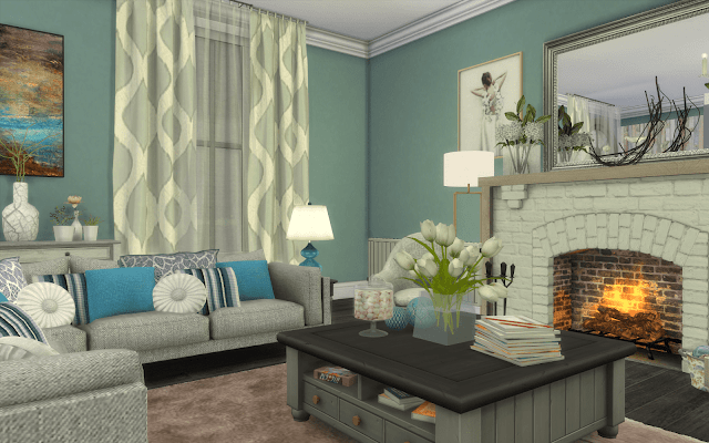 salon bleu sims 4