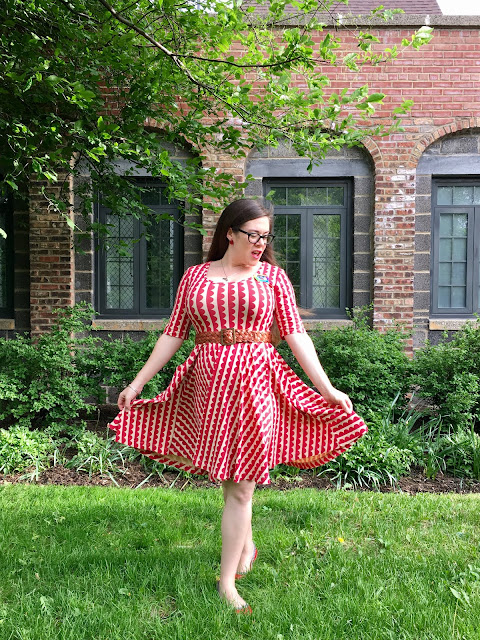 Effie's Heart Rachel dress in red scallops