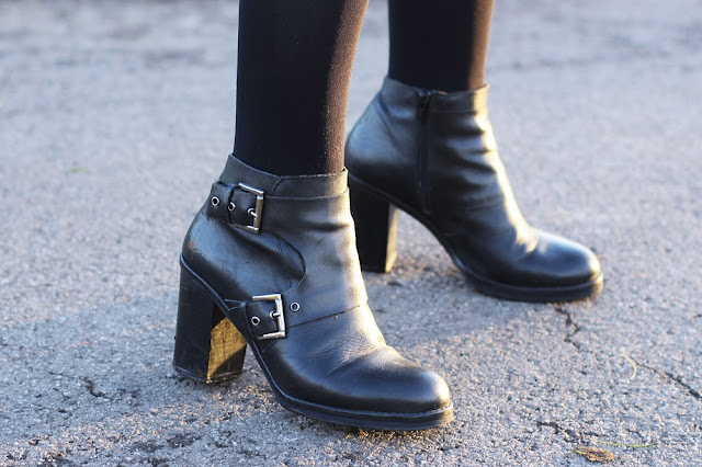 Black leather ankle boots - London fashion blog