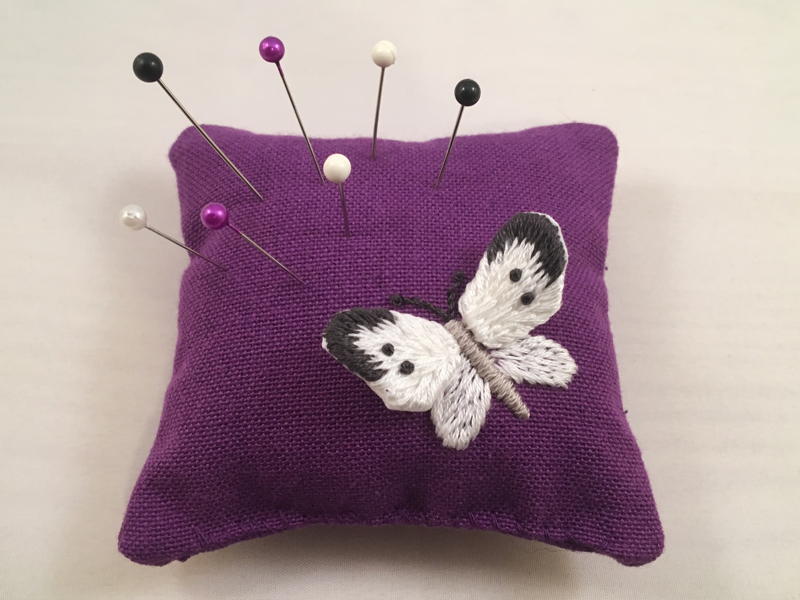 embroidered butterfly pincushion