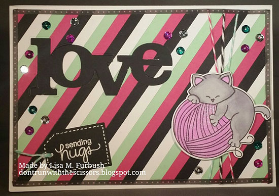 Kitty with Yarn Card by Lisa Furbush | Newton Unwinds Stamp set by Newton's Nook Designs #newtonsnook
