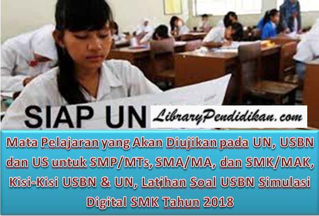 Mata Pelajaran yang Akan Diujikan pada UN, USBN dan US untuk SMP/MTs, SMA/MA, dan SMK/MAK, Kisi-Kisi USBN & UN, Latihan Soal USBN Simulasi Digital SMK Tahun 2018