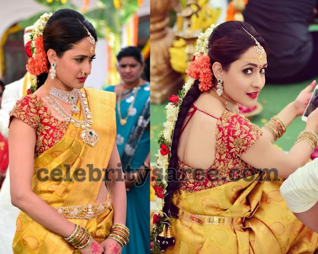 Pragya Jaiswal Traditional Mustard Saree