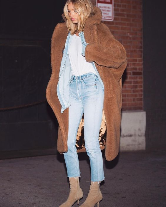 All denim + Teddy Bear Coat